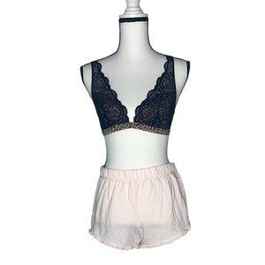 VS PINK Cheetah Print & Black Lace Bralette